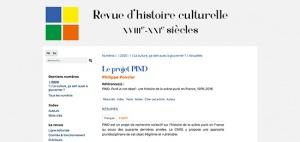 [PIND] « Le projet PIND » dans la Revue d'histoire culturelle (26 septembre 2020)